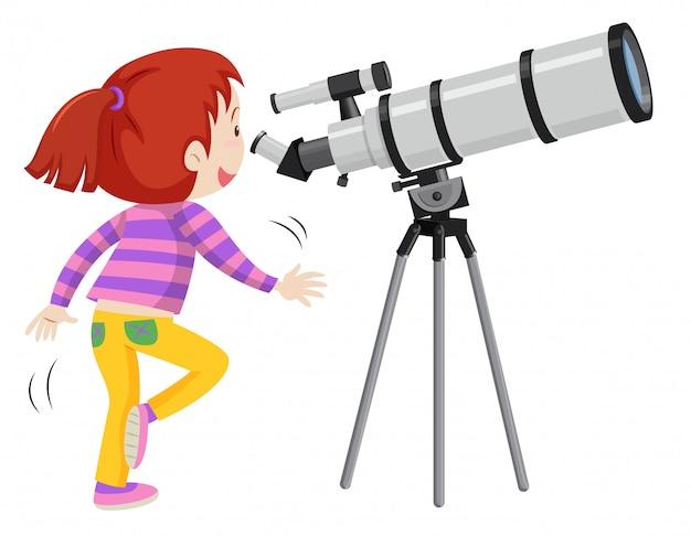 Menina usando binóculos isolados no fundo branco
