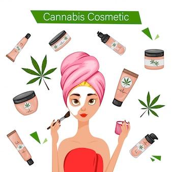 Menina usando cosméticos canábicos. estilo de desenho animado. ilustração.