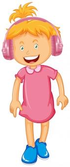 Menina usando fone de ouvido