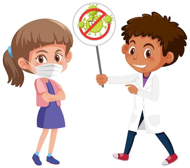 Menina usando máscara com médico segurando a placa de pare o coronavírus