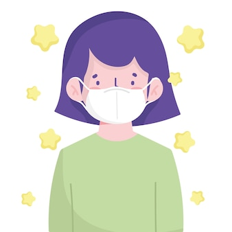 Menina usando máscara médica desenho animado novo normal