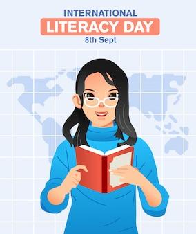 Menina usando óculos e lendo um livro com o mapa do mundo como ilustração de fundo para o dia internacional da alfabetização