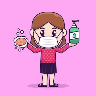 Menina usar máscara de rosto, segurando o frasco de sabão e líquido
