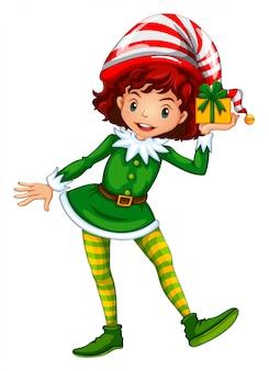 Menina vestida com roupa de elfo segurando a caixa de presente