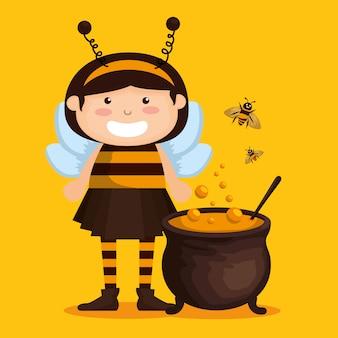 Menina vestida como uma abelhinha