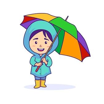 Menina vestindo capa de chuva e segurando guarda-chuva
