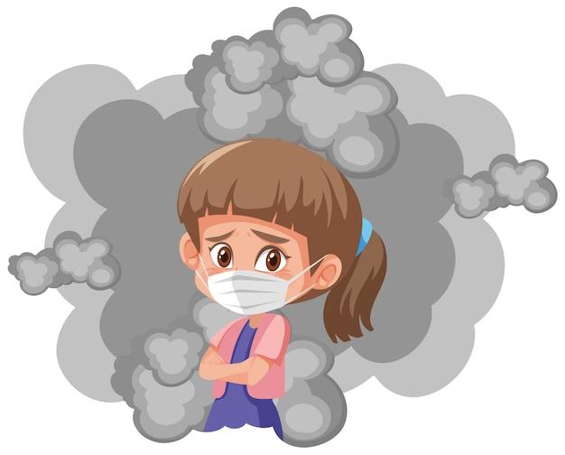 Menina vestindo máscara com fumaça