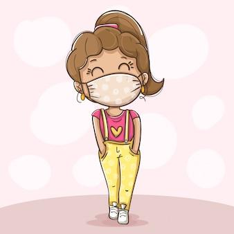 Menina vestindo máscara