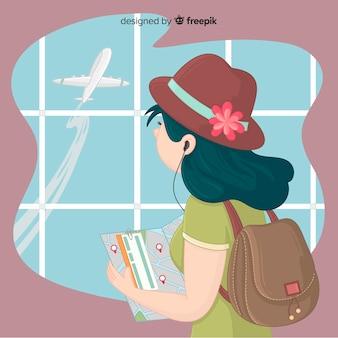 Menina, viajando, fundo