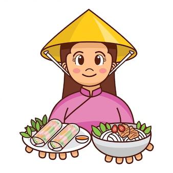 Menina vietnamita bonito dos desenhos animados em pano tradicional, servindo rolinhos primavera frescos e sopa de macarrão