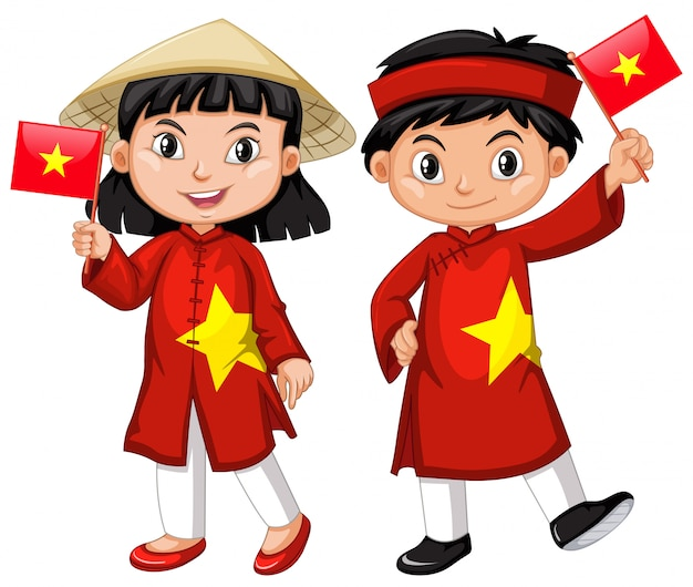 Menina vietnamita e menino em traje vermelho