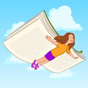 Menina voando com um livro