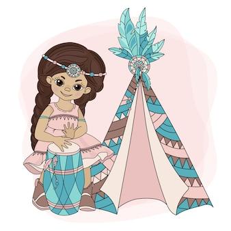 Menina wigwam pocahontas princesa indiana