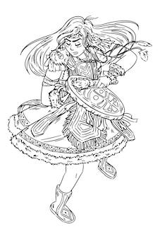Menina xamã dançando com pandeiro