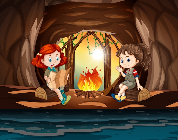 Meninas, acampamento, em, a, caverna