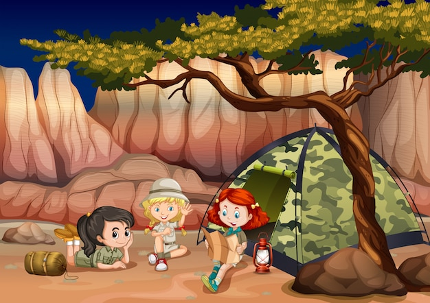 Meninas acampar no canyon