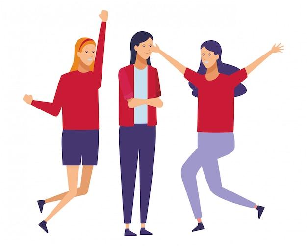 Meninas alegre gesto salto