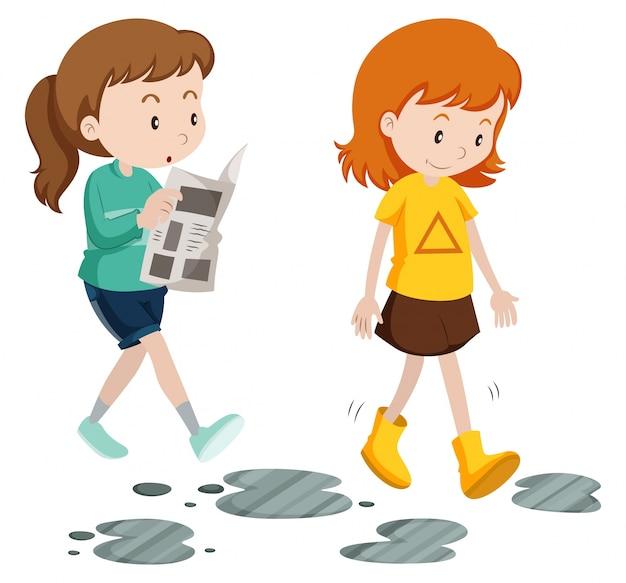 Meninas, andar, descuidado, cauteloso, passos, ilustração
