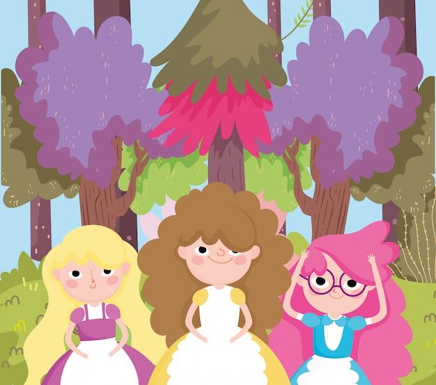 Meninas árvores floresta grama natureza no país das maravilhas