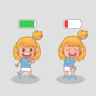 Meninas ativas e cansadas. meninas felizes e infelizes, enérgicas e meninas cansadas ou esgotadas e com energia vital.