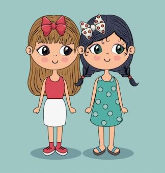 Meninas bonitas com saia branca e vestido azul