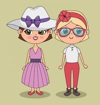 Meninas bonitos à moda modernos