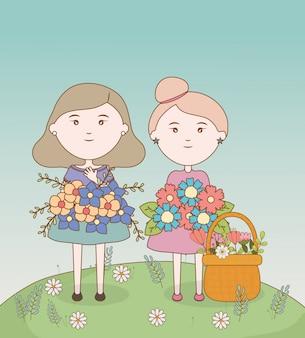 Meninas bonitos buquê de flores e campo cartoon