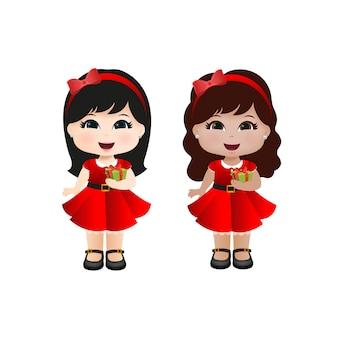 Meninas bonitos do natal