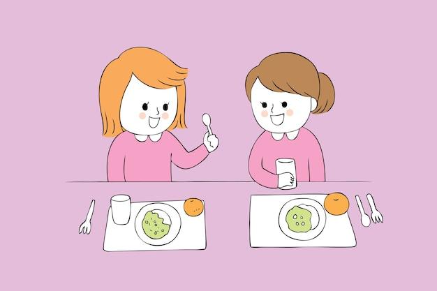 Meninas bonitos dos desenhos animados que comem o vetor.
