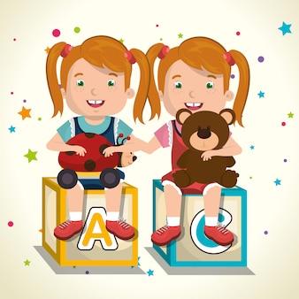 Meninas brincando com personagens de brinquedos
