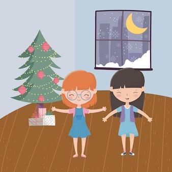Meninas com árvore presentes janela lua neve sala de estar celebração feliz natal
