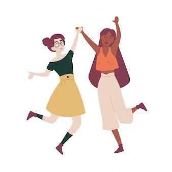 Meninas com as mãos para cima pulando se divertindo.