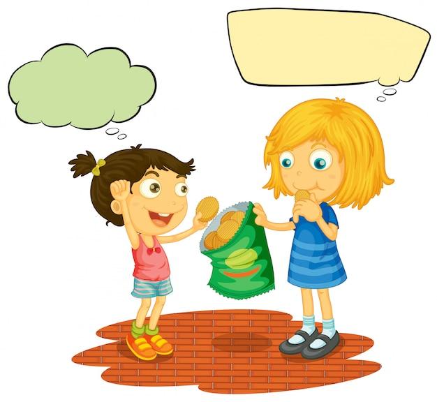 Meninas, com, balão fala