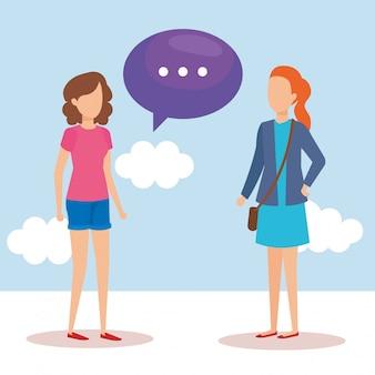 Meninas com bolhas do discurso