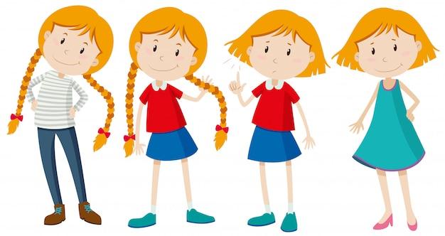 Meninas com cabelos longos e curtos