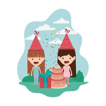 Meninas, com, chapéu partido, em, aniversário, celebração