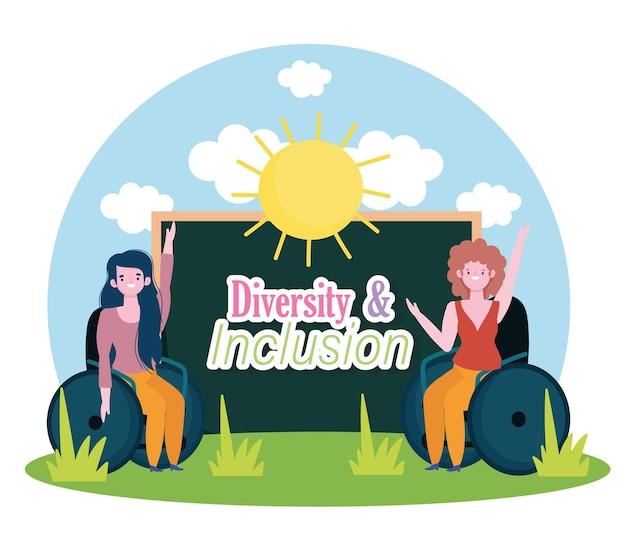 Meninas com deficiência sentadas em uma cadeira de rodas, inclusão na ilustração escolar