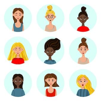 Meninas com diferentes expressões faciais e emoções. estilo de desenho animado. ilustração.