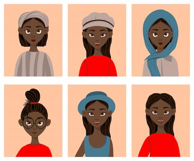 Meninas com diferentes expressões faciais e emoções. estilo dos desenhos animados. ilustração.