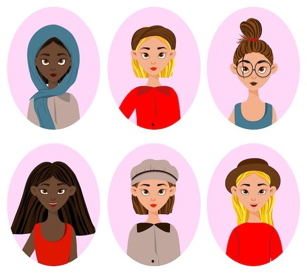 Meninas com diferentes expressões faciais e emoções