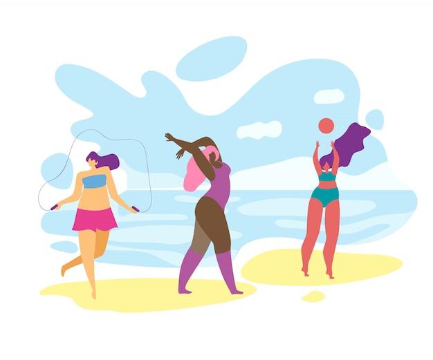Meninas com excesso de peso, brincar e relaxar na beira-mar