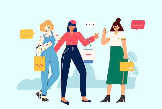 Meninas com feliz consumo de compras