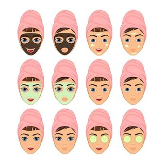 Meninas com maquiagem e não usando maquiagem, a máscara facial cosmética