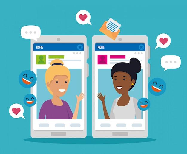 Meninas com mensagens de perfil social e smartphone