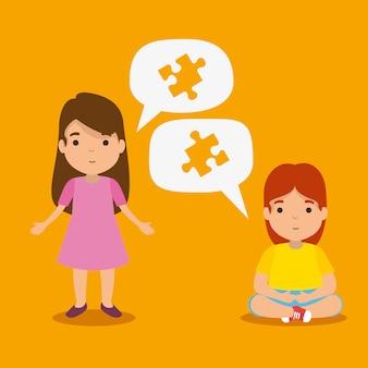 Meninas com quebra-cabeças dentro de bolhas do bate-papo para o dia do autismo