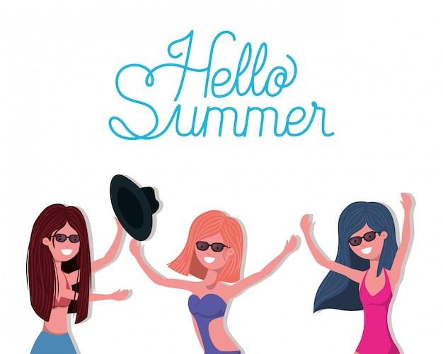 Meninas com roupa de banho de verão