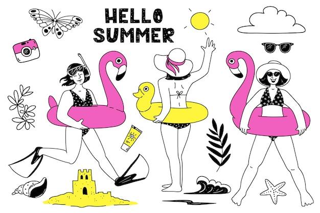 Meninas com um flamingo rosa inflável com um patinho inflável amarelo conjunto de verão variado