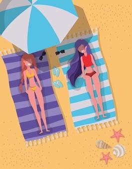 Meninas, com, verão, swimwear, desenho