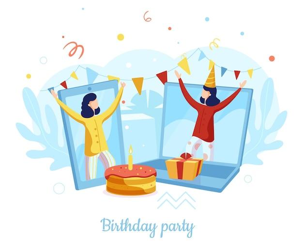 Meninas comemorando aniversário remotamente de casa, ilustração vetorial. festa online, reunião virtual. aplicativo de bate-papo por videochamada.