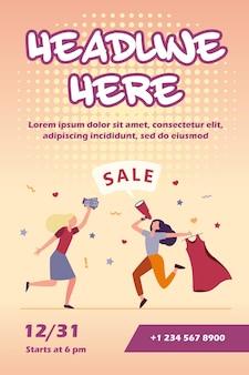 Meninas comemorando venda em modelo de folheto de loja